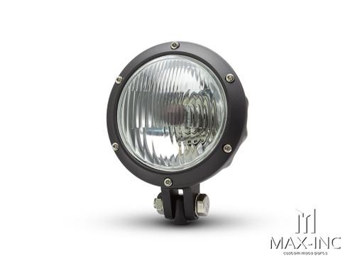 """4.75"""" Black Alloy Bobber Style Headlight - 12v / 35w"""