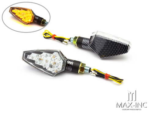Carbon Pattern Full Size LED Turn Signals / Indicators - Emarked