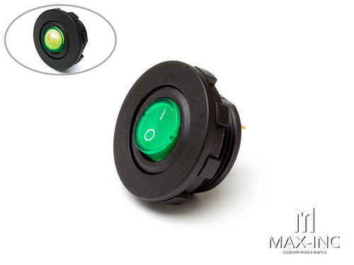 Green Universal Dash / Panel Mount 12v LED ON/OFF Switch