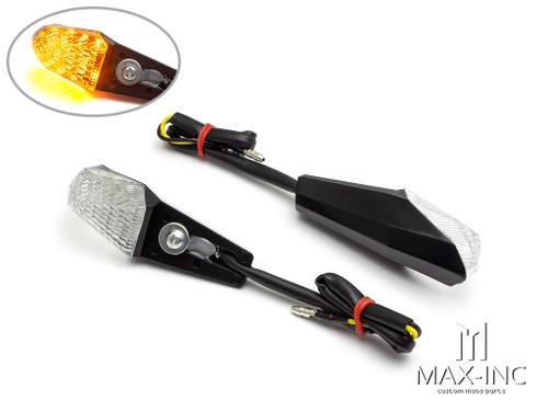 Black License Plate Mount Mini LED Turn Signals / Indicators - Emarked
