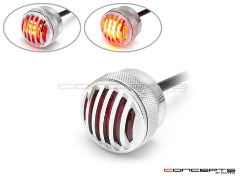 """1.65"""" Chrome Mini Flush Mount CNC Billet Alum Prison Grill LED Stop / Tail Light"""
