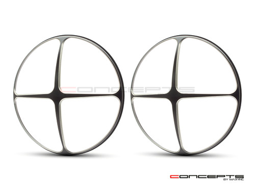 "Cross Design 7"" Black + Contrast Cut CNC Aluminum Headlight Guard Covers - Pair"