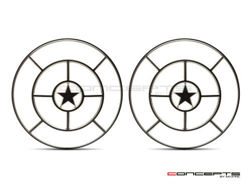 "Star Design 7"" Black + Contrast Cut CNC Aluminum Headlight Guard Covers - Pair"