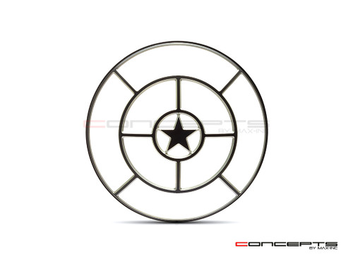 "Star Design 7"" Black + Contrast Cut CNC Aluminum Headlight Guard Cover"