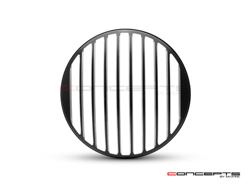 "Classic Vent Design 7"" Black + Contrast Cut CNC Aluminum Headlight Guard Cover"