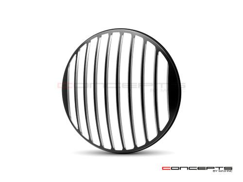 """Classic Vent Design 7"""" Black + Contrast Cut CNC Aluminum Headlight Guard Cover"""