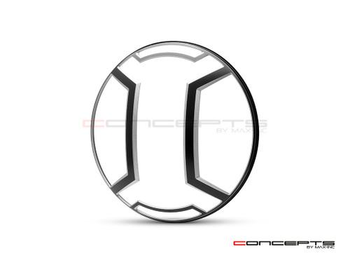 "Armour Design 7"" Black + Contrast Cut CNC Aluminum Headlight Guard Cover"