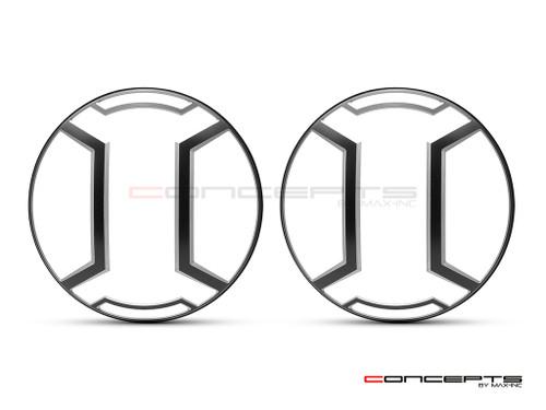 "Armour Design 7"" Black + Contrast Cut CNC Aluminum Headlight Guard Covers - Pair"