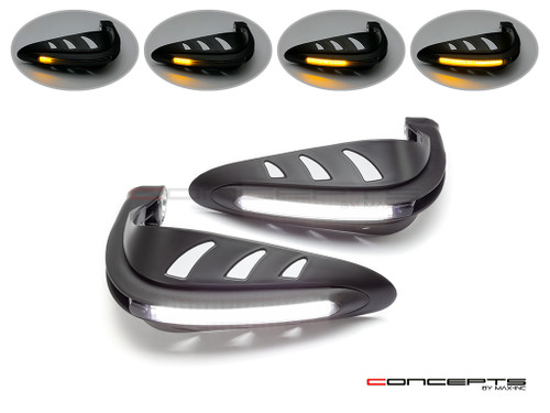 Black Universal LED Handguards with Integrated Daytime Running Lights + Turn Signals - Cool White / Amber