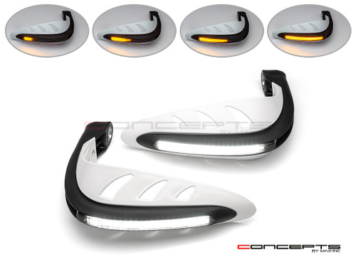 White Universal LED Handguards with Integrated Daytime Running Lights + Turn Signals - Cool White / Amber