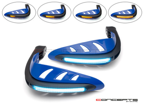 Blue Universal LED Handguards with Integrated Daytime Running Lights + Turn Signals - Ice Blue / Amber