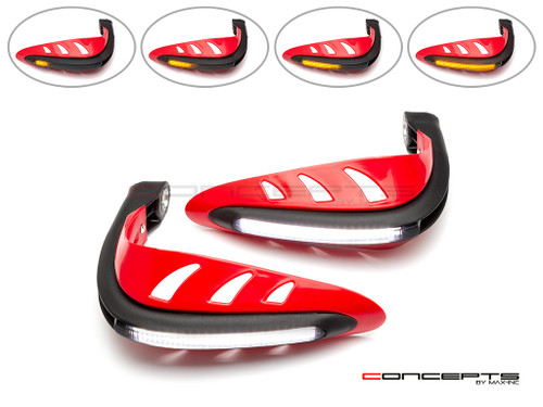 Red Universal LED Handguards with Integrated Daytime Running Lights + Turn Signals - Cool White / Amber
