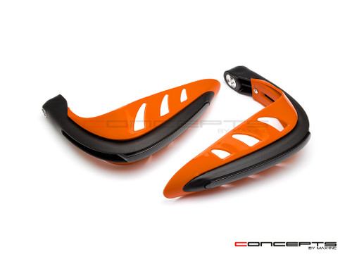 Orange Universal LED Handguards with Integrated Daytime Running Lights + Turn Signals - Cool White / Amber