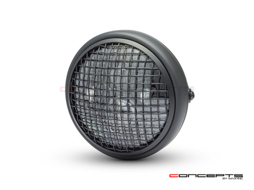 "7.7"" Matte Black Shorty Multi Projector LED Headlight + Mesh Grill"