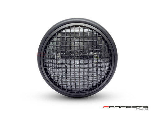 "7.7"" Matte Black Shorty Multi Projector LED Headlight + Mesh Grill"