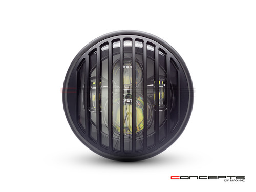 "7.7"" Matte Black Multi Projector LED Headlight + Vent Grill Cover"