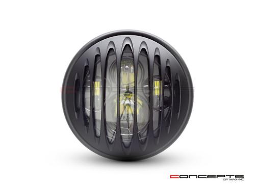 """7.7"""" Matte Black Multi Projector LED Headlight + Prison Grill Cover"""
