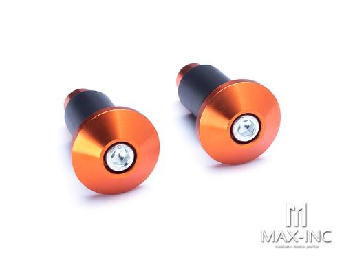"Orange Anodized CNC Machined Aluminum Bar Ends - 7/8""(22mm)"