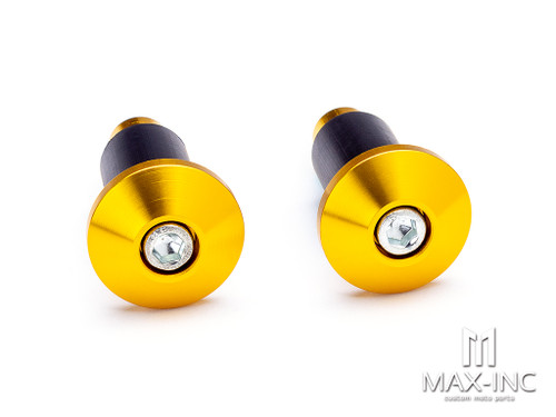"""Gold Anodized CNC Machined Aluminum Bar Ends - 7/8""""(22mm)"""