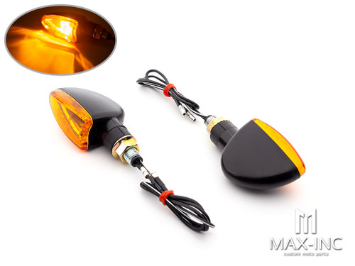 Black Mini Czar LED Turn Signals / Indicators - Bulb Type - Emarked