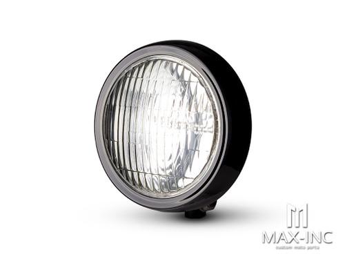 "5"" Gloss Black Metal Shallow Bottom Mount Custom Headlight"