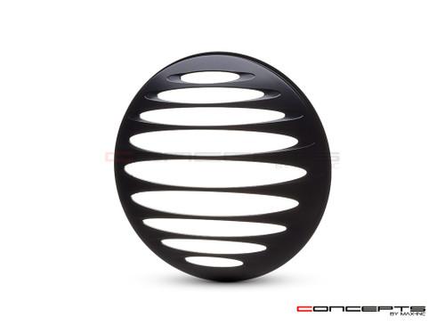 """Prison Grill Design 7"""" Black CNC Aluminum Headlight Guard Cover"""