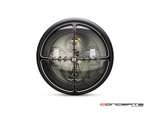 """7.7"""" Matte Black + Contrast Multi Projector LED Headlight + Cross Hairs Grill Cover"""