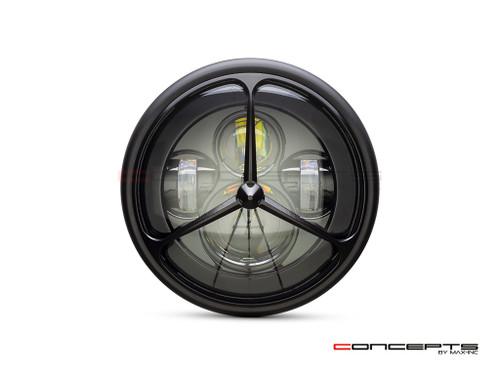 """7.7"""" Matte Black Multi Projector LED Headlight + Tri-Benz Grill Cover"""