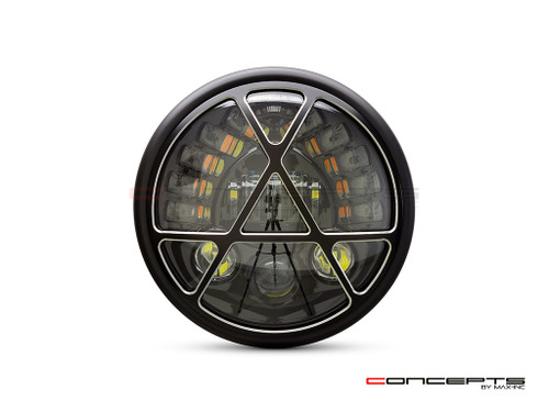 "7.7"" Matte Black + Contrast Cut Metal LED Integrated Headlight + Anarchy Grill Cover"