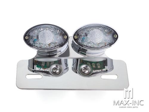 Universal Double Cat Eye Chrome LED Stop / Tail Light - Clear Lens