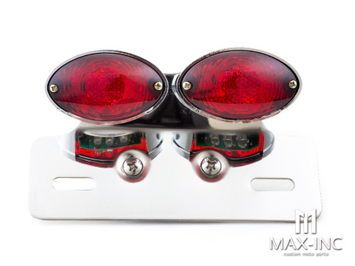 Universal Double Cat Eye Chrome LED Stop / Tail Light - Red Lens