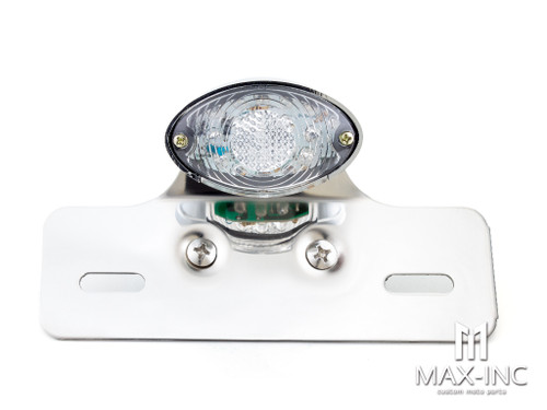 Universal Cat Eye Chrome LED Stop / Tail Light - Clear Lens