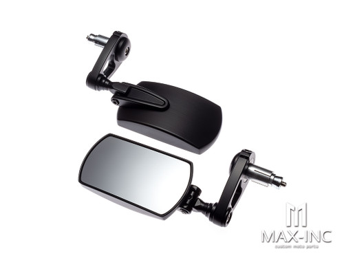 "Black Alloy Universal F1 Adjustable Bar End Mirrors - Fits 7/8""(22mm) Bars & Renthal Bars"