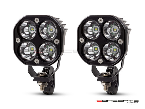 Raider 40w LED Spot Lights + Wiring Harness + Bar Clamps - Fits 22 /25 / 28mm Bars