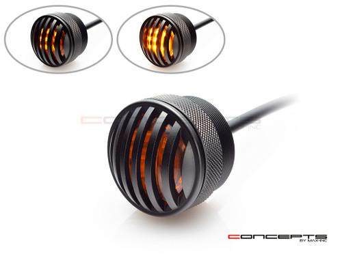 "1.65"" Matte Black Mini Flush Mount CNC Billet Alum Prison Grill LED Turn Signal + Running Light"