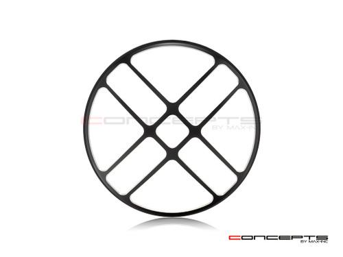 "7"" Titan Grille Design Black + Contrast CNC Aluminum Headlight Guard Cover"