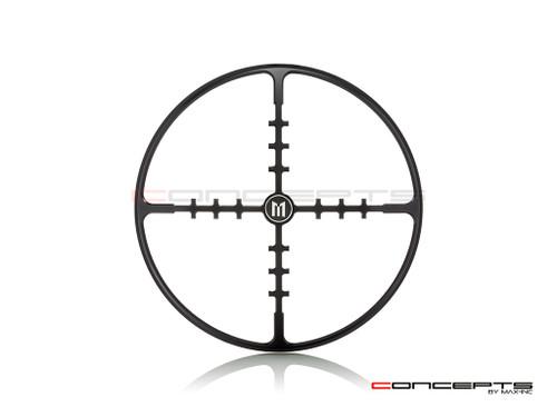 "7"" Cross Hairs Grille Design Black CNC Aluminum Headlight Guard Cover"