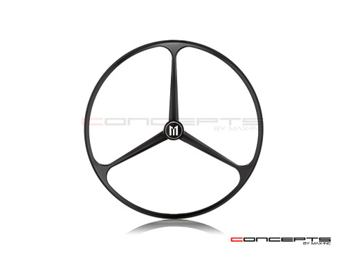 "7"" Tri-Benz Grille Design Black CNC Aluminum Headlight Guard Cover"