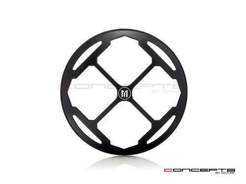 "7"" Rukis Grille Design Black CNC Aluminum Headlight Guard Cover"