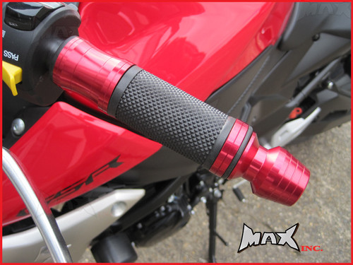 RED CNC Machined Aluminium / Rubber Grips With Bar Ends - 7/8
