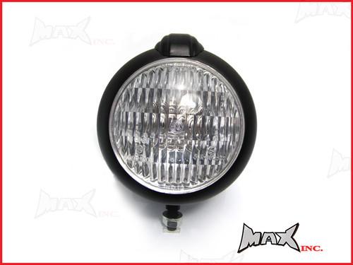 "5 1/2"" Bates Style Matte Black Metal Headlight - 12v / 35w"