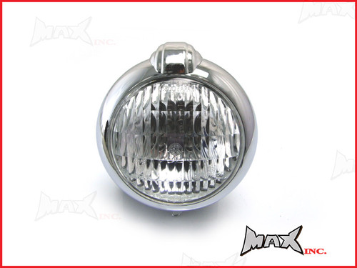 "5 1/2"" Bates Style Chrome Metal Headlight - 12v / 35w"