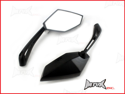 Pair Of Universal Black Wing Mirrors - 10mm Right & Reverse Thread Set
