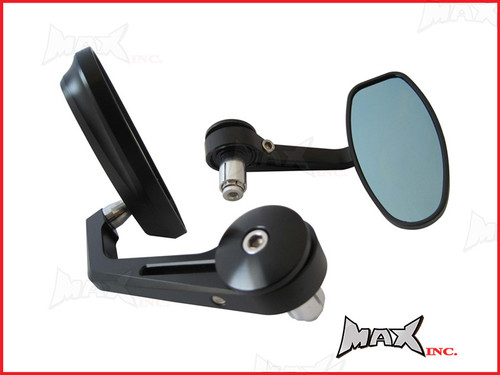 Pair Of Black CNC Machined Bar End Mirrors - High Quality