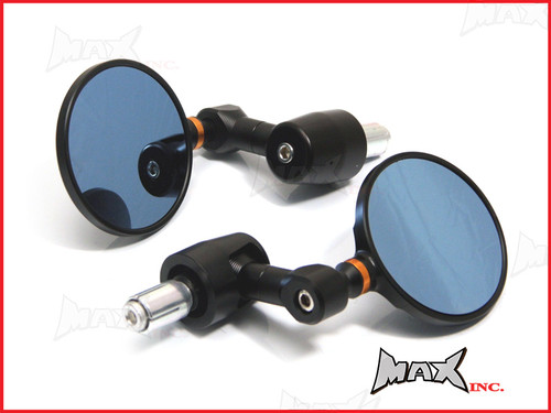 Pair Of Black Round CNC Machined Bar End Mirrors - High Quality