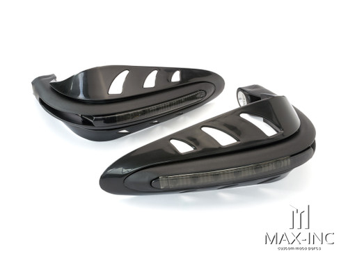 BLACK Universal Hand Guards with Integrated Amber LED Turn Signals