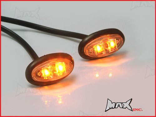 AMBER 12v Oval Flush Mount LED Mini Marker Lights