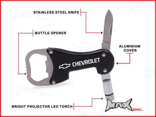 CHEVROLET - Lasered Logo Keyring / Pocket Knife / LED Torch / Bottle Opener