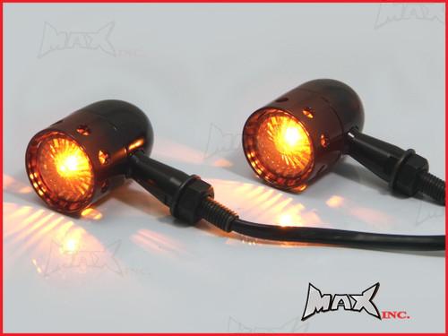 Black Alloy Custom Turn Signals / Indicators - Smoked Lense - Bulb Type