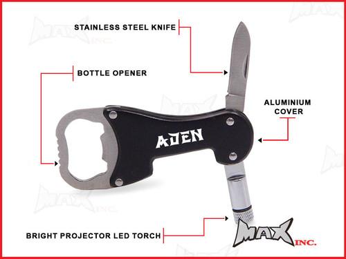 ADEN - Personalized Name Lasered Keyring / Pocket Knife / LED Torch / Bottle Opener